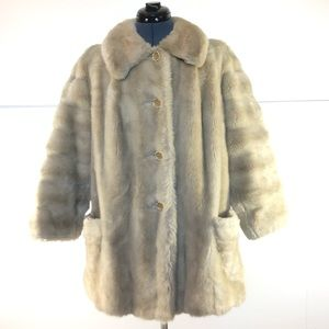 Vintage Faux Fur Coat, Cream Tan Rabbit